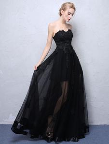 Vestidos de fiesta negros Vestido de fiesta largo sin tirantes Vestido de fiesta formal de encaje Ilusión Vestido de noche