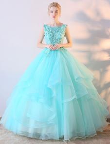 النعناع الأخضر فستان حفلة موسيقية الكرة بثوب الزهور زين فستان الزفاف الملونة الطابق طول اللباس Quinceanera
