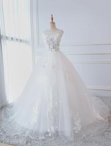 Принцесса Свадебные платья Бальное платье Кружевные цветы Аппликация без рукавов Свадебные платья с поездом