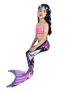 Disfraz de niños Carnaval Traje de sirena de los niños traje de baño de cola de pez de halloween 2 piezas Disfraz Carnaval