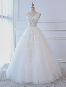 Принцесса Свадебные платья Бальное платье Кружева V Шея без рукавов Длина пола Свадебные платья