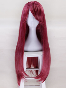 Аниме Kawaii Girl Бургундия Halloween Party Cosplay Wig