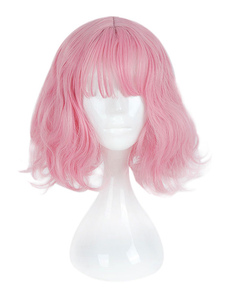 Harajuku Lolita Wig Blunt Fringe Природная волна Розовый парик Лолита