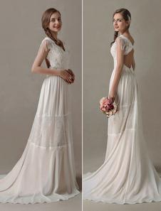 Vestido de noiva Bohemian 2020 em linha-A decote V Cintura Natural Sem costas Com Cauda cor de champanhe