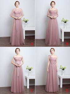 Vestidos de fiesta largos Vestidos de baile Largo Cameo Pink Vestido de dama de honor Tulle Cinta Sash Piso Longitud Vestido de fiesta formal