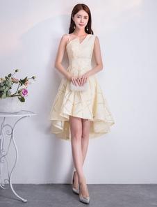 Коктейльные платья нарцисс кружева с коротким рукавом Асимметричное короткое выпускное вечернее платье