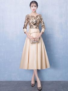 Короткие платья выпускного вечера легкие золотые атласные кружева с длинным рукавом коктейльное платье