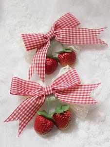 Sweet Lolita Hairpin Strawberry Plaid Lace Trim Lolita Accessorio per capelli