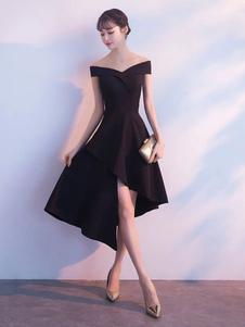 Маленькие черные платья несимметричные с плечевым коктейлем