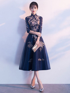 Vestidos de cocktail Dark Navy Lace Stand Collar Chá Comprimento Wedding Guest Dress