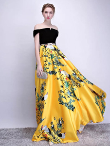 Vestito da sera da sera lungo in raso con scollo a velluto lungo in raso con stampa floreale