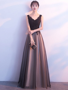Черный выпускной вечер Длинные V шеи кружевной тюль без рукавов длиной до пола формальное вечернее платье