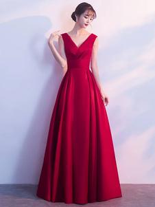 Бургунские вечерние платья Long V Neck Sleeveless Pleated A Line Floor Even Even Dress