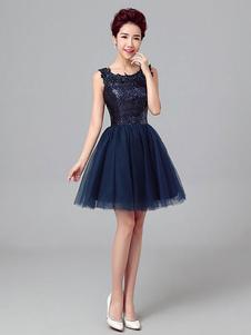 Короткие платья выпускного вечера Темный флот Sequin Tulle Cute Graduation Dress Без рукавов Мини-коктейльное платье