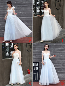 Abiti lunghi da damigella d'onore Baby Blue Prom Dress Piano Lunghezza Abito da sera