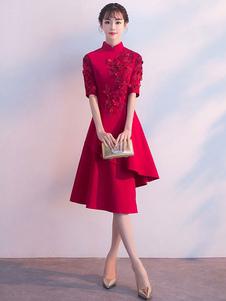 Бургундированные платья для коктейля с воротником с половиной втулкой Асимметричное платье для вечеринки
