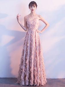 Prom Dresses Blush Pink Long Halter Feathers Sleeveless Floor Length Graduation Dress