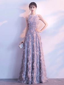 Серые платья выпускного вечера Длинные Halter перья без рукавов длиной до пола Формальное вечернее платье