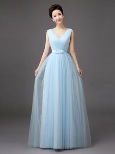 Vestido De Dama De Honra 2020 Longo Azul Com Decote Em V E Laço De Tule Com Decote Em V Comprido