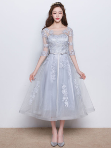 Vestidos de baile largo gris claro media manga de encaje arcos faja sin respaldo vestido de graduación de longitud de té