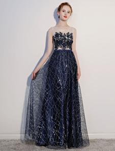 Vestidos de fiesta de la marina oscura 2020 Vestido de noche de la Largoitud del piso sin mangas ilusión de encaje Lentejuela de