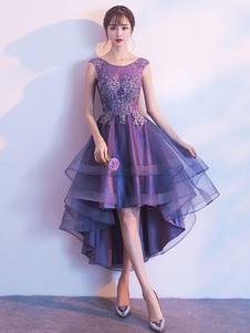 Vestidos de baile curtos alta baixa lavanda vestido de coquetel vestido de formatura applique