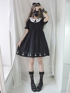 Платье Sweet Lolita OP Крест гексаграммы Вышивка плиссированное черное платье Lolita One Piece