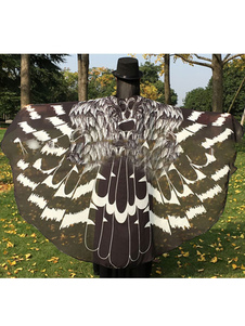 Owl Moth Wings Costume Adulto Black Cape Halloween