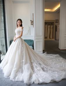 الأميرة الكرة بثوب فساتين الزفاف الدانتيل مطرز قبالة الكتف فستان الزفاف الملكي مع قطار
