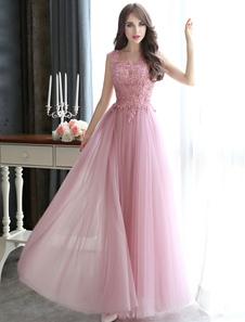 Vestidos De Baile 2020 Longo Cameo Rosa Lace Applique Frisado Tule Até O Chão Backless Vestido De Festa Formal