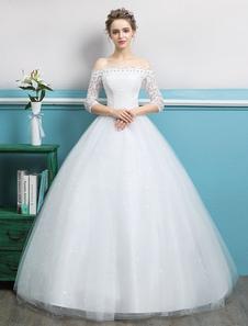 Abiti da Sposa 2020 Principessa abito da prom spalle scoperte Strass Pizzo Tulle Avorio a terra abito da sposa