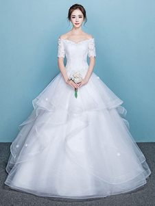 Vestidos de novia de la princesa Ball del vestido de novia con gradas de tul de manga corta de encaje en el hombro
