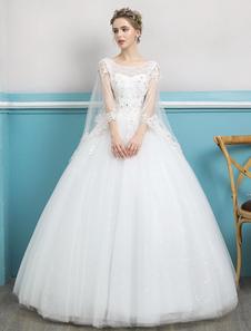 Abiti da sposa principessa Ball Gown Pizzo avorio che borda Backless Piano lunghezza abito da sposa