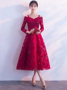 Короткие платья выпускного вечера Бургундии кружева выпускного платья холодное плечо с длинным рукавом платье длиной до пола коктейльное платье