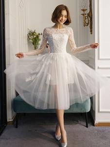 Vestidos de casamento curto White Lace manga comprida Illusion Tea Length Bridal Dress