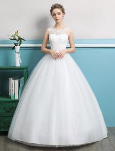 Vestido De Baile 2020 Princesa Vestidos De Noiva De Tule Sem Encosto Marfim Perolização Até O Chão Vestido De Noiva