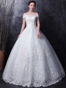 فساتين الزفاف الدانتيل الأبيض قبالة الكتف كم قصير الرباط زين الطابق طول فستان الزفاف