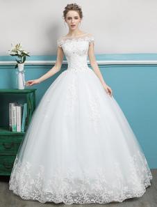 Princesa vestidos de noiva vestidos de baile renda frisado marfim até o chão vestido de noiva