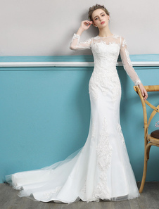 Vestidos de novia de la sirena vestidos de novia de encaje de ilusión de encaje de manga larga