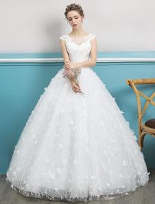 Принцесса бальное платье свадебное платье слоновая кость кружева бисером иллюзия Backless этаж длина свадебное платье
