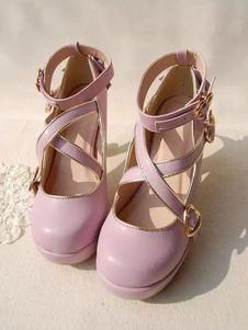 الحلو لوليتا مضخات Strappy كريسس الصليب بوكلي القوس عالية الكعب لوليتا أحذية