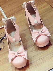 Doce Lolita Bombas Bow Ankle Strap Plataforma Chunky Heel Lolita Sapatos