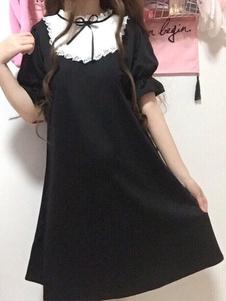 Sweet Lolita OP Платье кружева Лук Два тон черного лолита One Piece платье