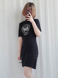 Китайский стиль Lolita OP платье печати платье из шифона черного лолита One Piece
