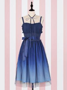 Sweet Lolita JSK Dress Fantasy Starry Sky Tulle Ombre Лента лука Плиссированная Deep Blue Lolita Jumper Юбка