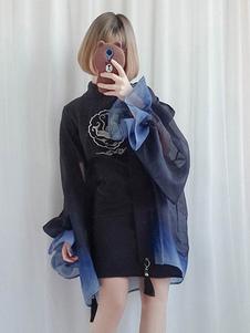 Китайский стиль Lolita Cover Up Версия для печати Ombre Tassel Chiffon Lolita Outerwear