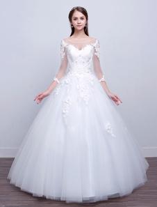 Vestido de bola de princesa Vestidos de novia Manga larga Encaje Ilusión Marfil Hasta el suelo Vestido de novia