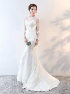 Vestidos de novia de sirena de manga larga con cuentas de encaje ilusión Ivory vestido de novia con el tren