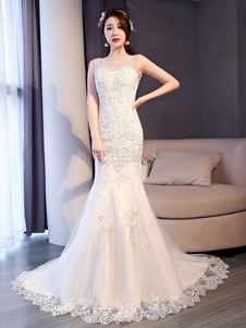 Русалка свадебные платья кружева слоновая кость бисероплетение без рукавов свадебное платье с поездом