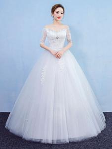 プリンセスウェディングドレスボールガウン白レースラインストーンオフショルダー半袖ブライダルドレス